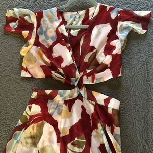 Maroon Floral Attached Two Piece Maxi Dress